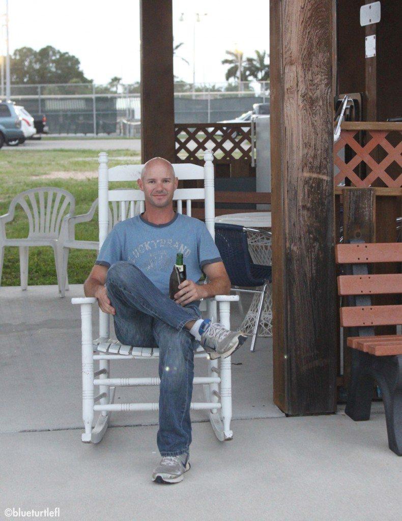 Randy enjoying a happy hour drink under the marina's pavillion