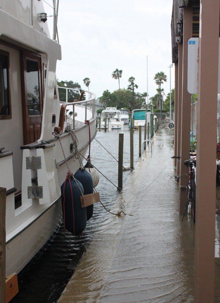 Dock/sidewalk under water by the Dock Master's office