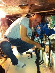 Randy in the engine room battling the bilge