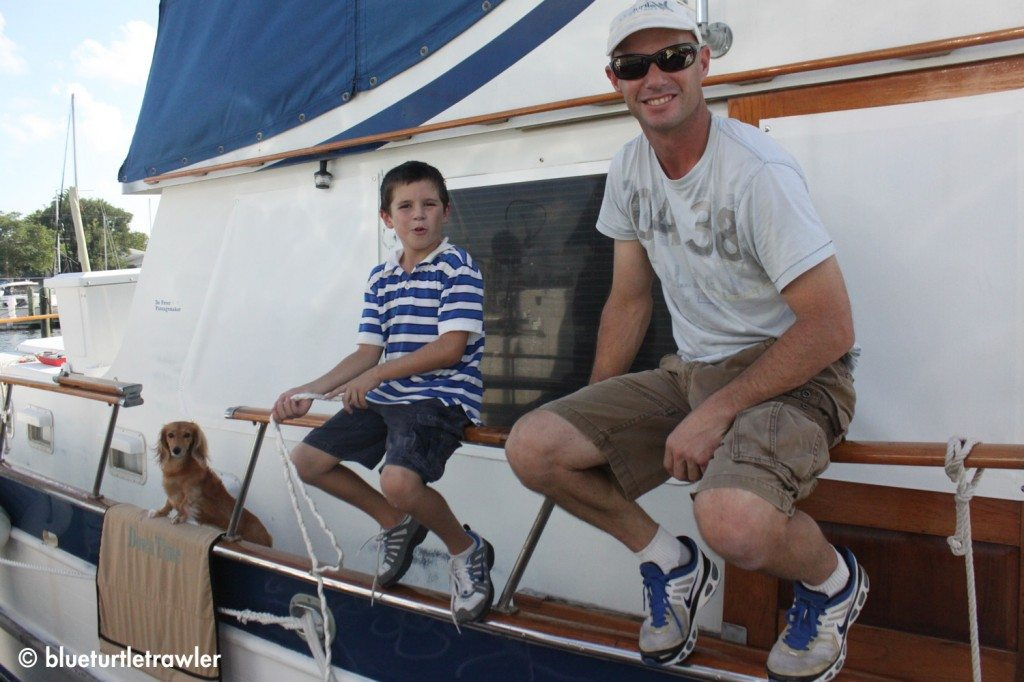 Sophie, Corey and Capt. Randy hang out and watch the snubber being made