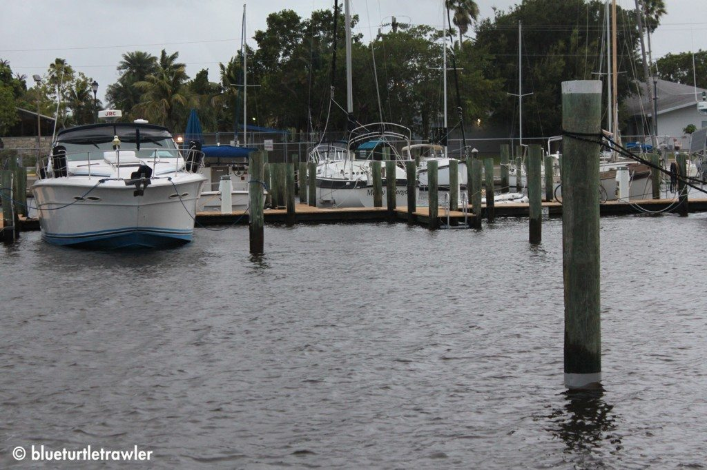 The center dock in the marina with the high water level