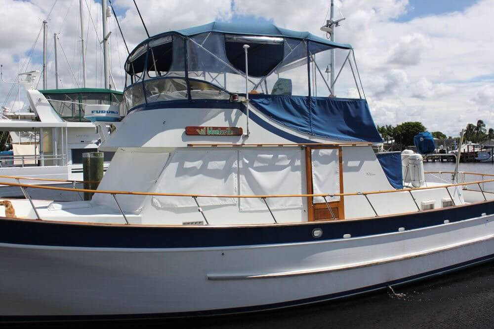 Our trawler with the refinished name boards