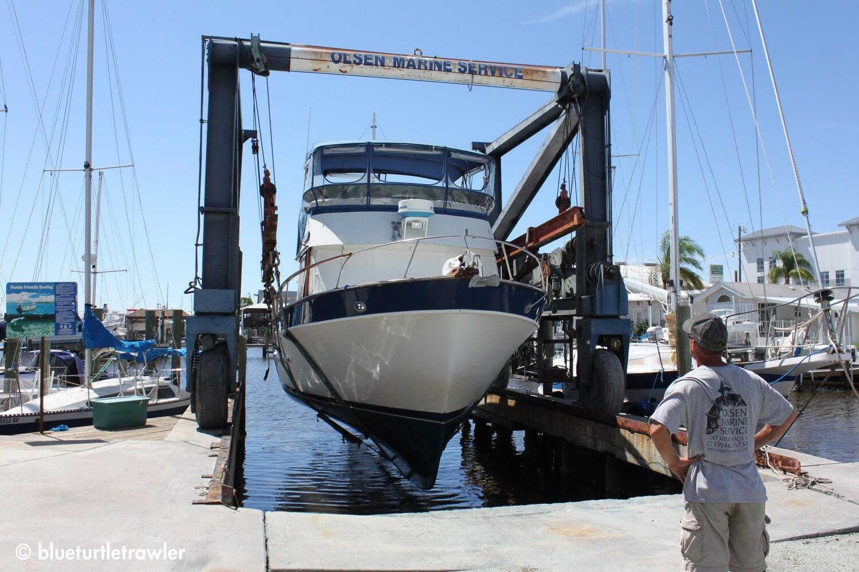 The boat lift at Olsen Marine