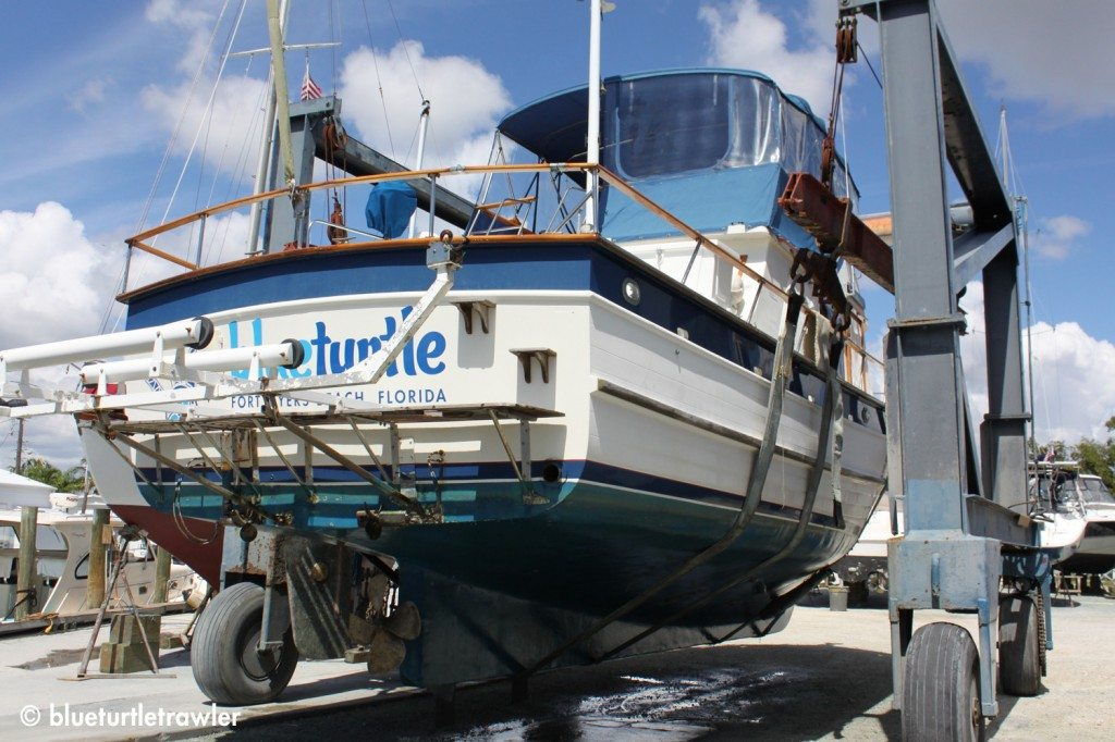 Trillogy Dinghy Lift System before it was removed