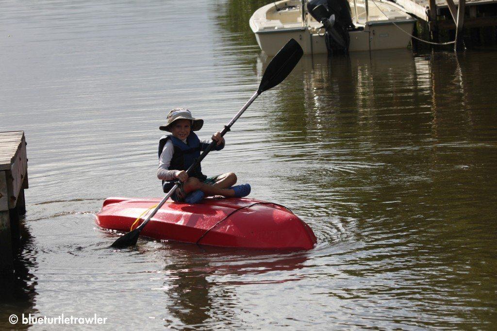 Corey decides to paddle his kayak upside down