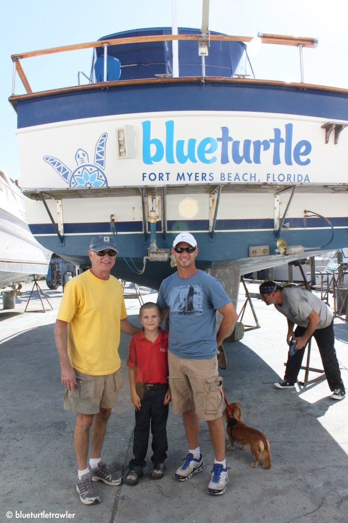 Johnny (Randy's Dad), Corey and Randy with Blue Turtle