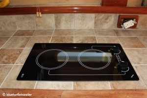 Our new cooktop and tiled counters