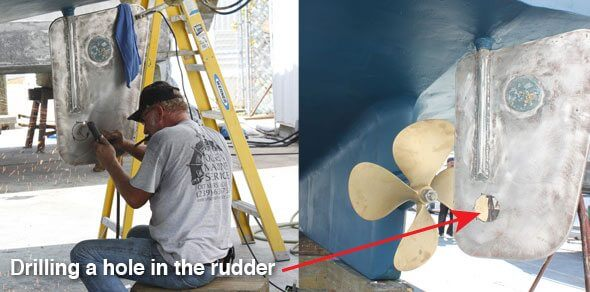 Drilling a hole in the rudder
