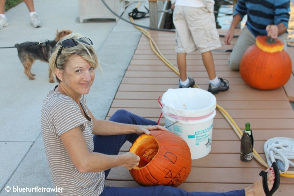 Traditionally, I carve one pumpkin and Randy and Corey carve another one
