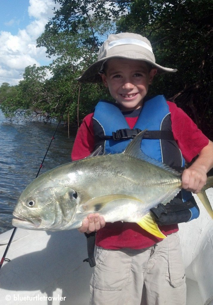 Two casts is all it took for Corey to catch this jack near our new marina