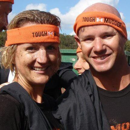 Randy and I at the Tough Mudder finish line enjoying our free beer