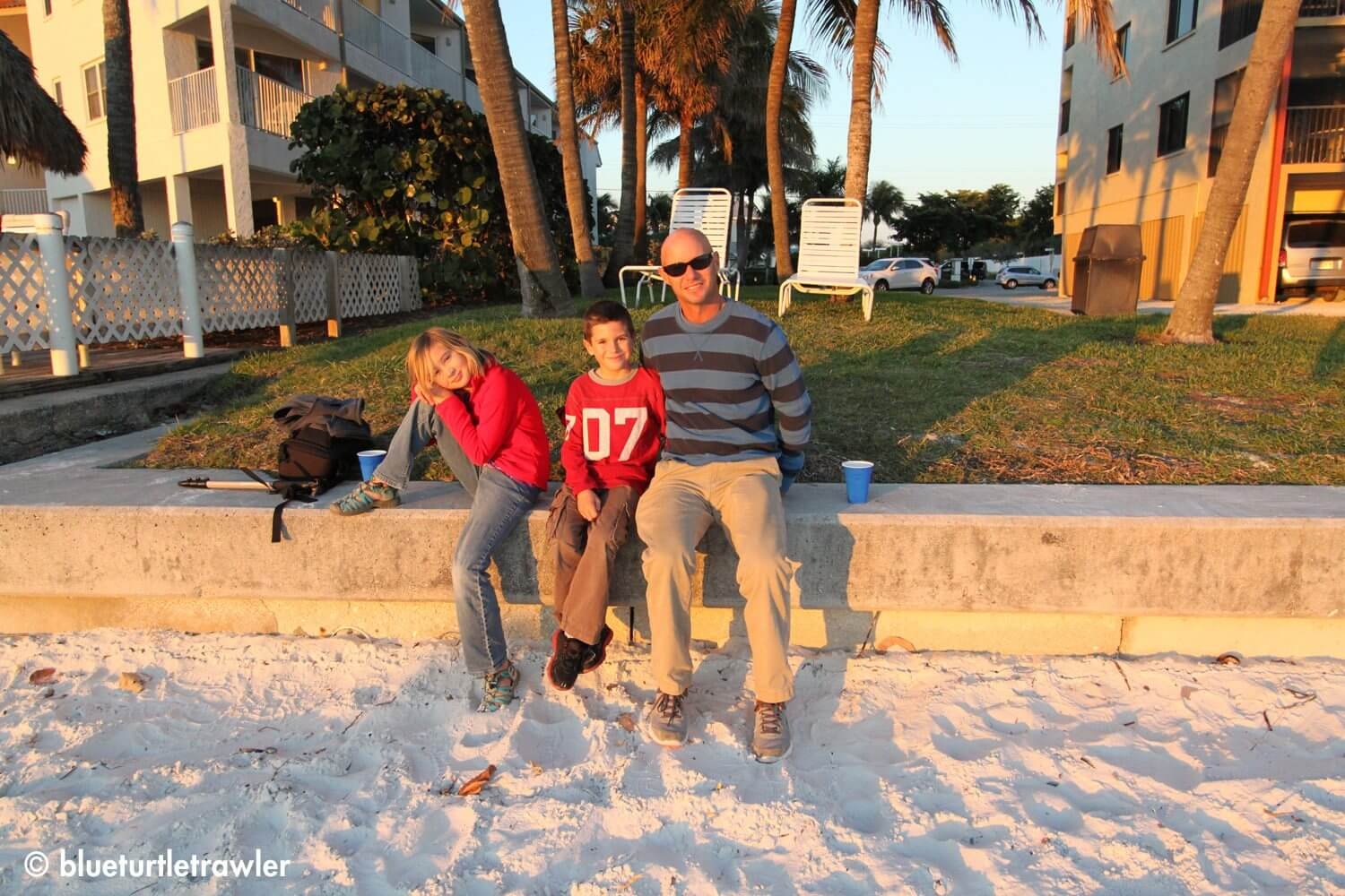 Randy, Corey and Maddie at sunset on the beach