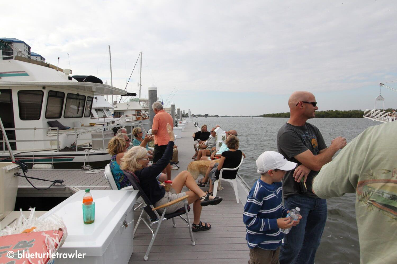 Since the paddle wheel cruise was cancelled, the dock party started early