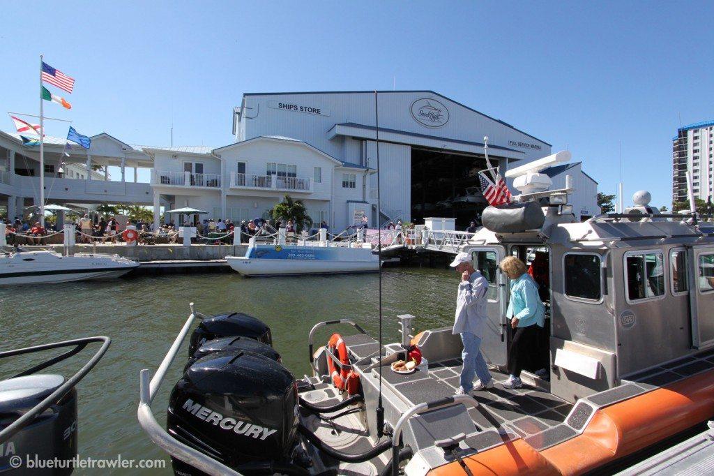 A Coast Guard boat was at the marina giving tours