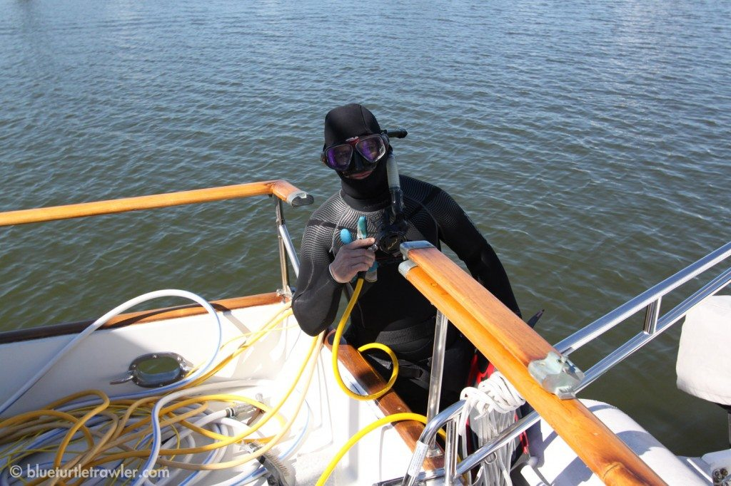 Creature from the deep: Randy is suited up in his 7mil suite and hood to keep him warm
