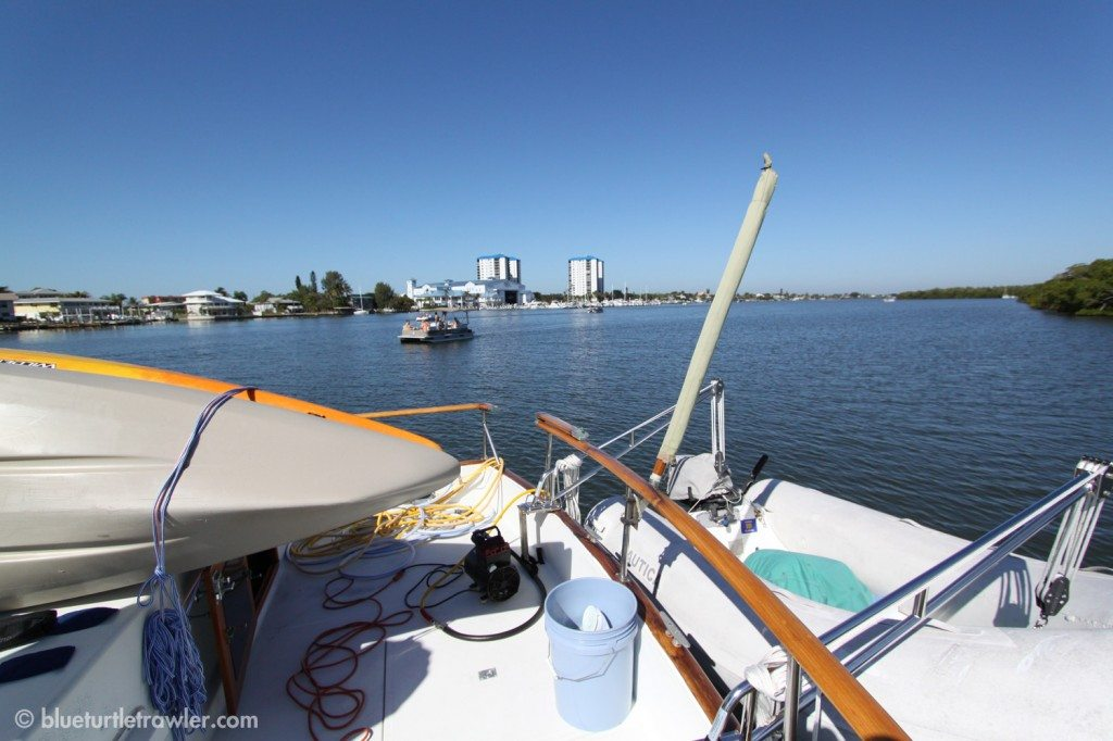 Anchored right outside Snook Bight, Randy dove our boat while I worked