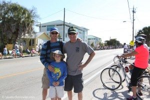 Randy, Corey and Grandpa Johnny waiting for the parade to begin