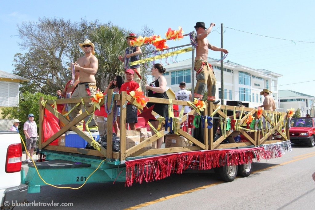 Not sure what this float was for either, but enjoyed the enthusiastic dancing of the firemen