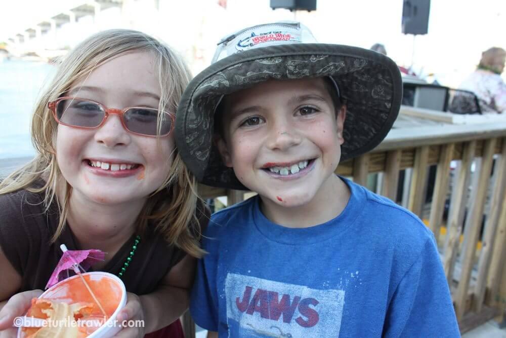 Corey and Maddie enjoyed some multi-colored ice cream