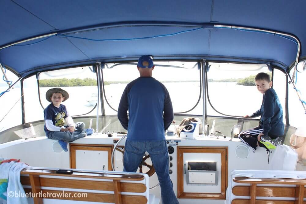 Randy captains the boat back to Snook Bight