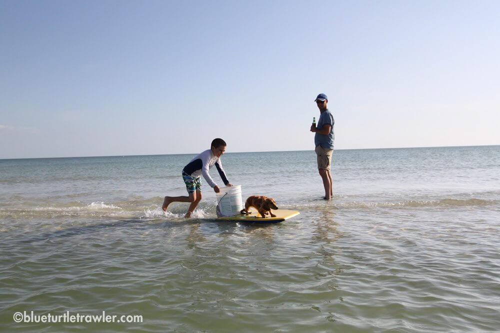 A Dad, his  boy, his boogie board, a bucket, a wiener dog = pure fun
