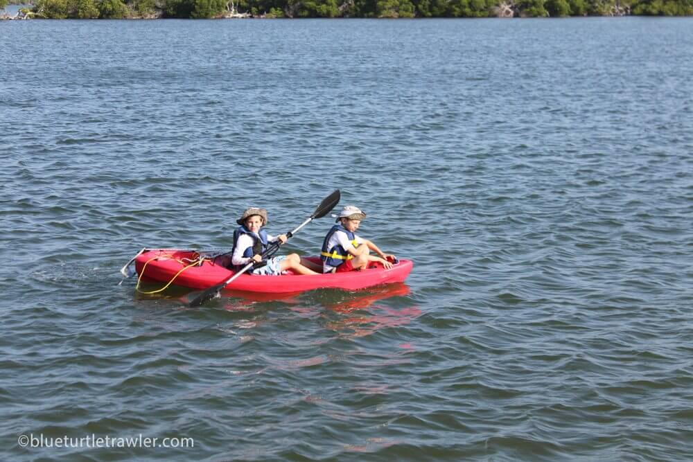 Corey and Jack go for a paddle