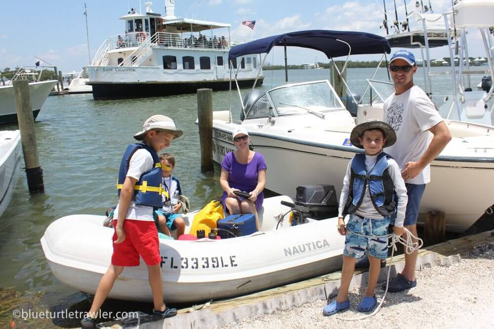 Getting back to the dinghy at the Cabbage Key Docks