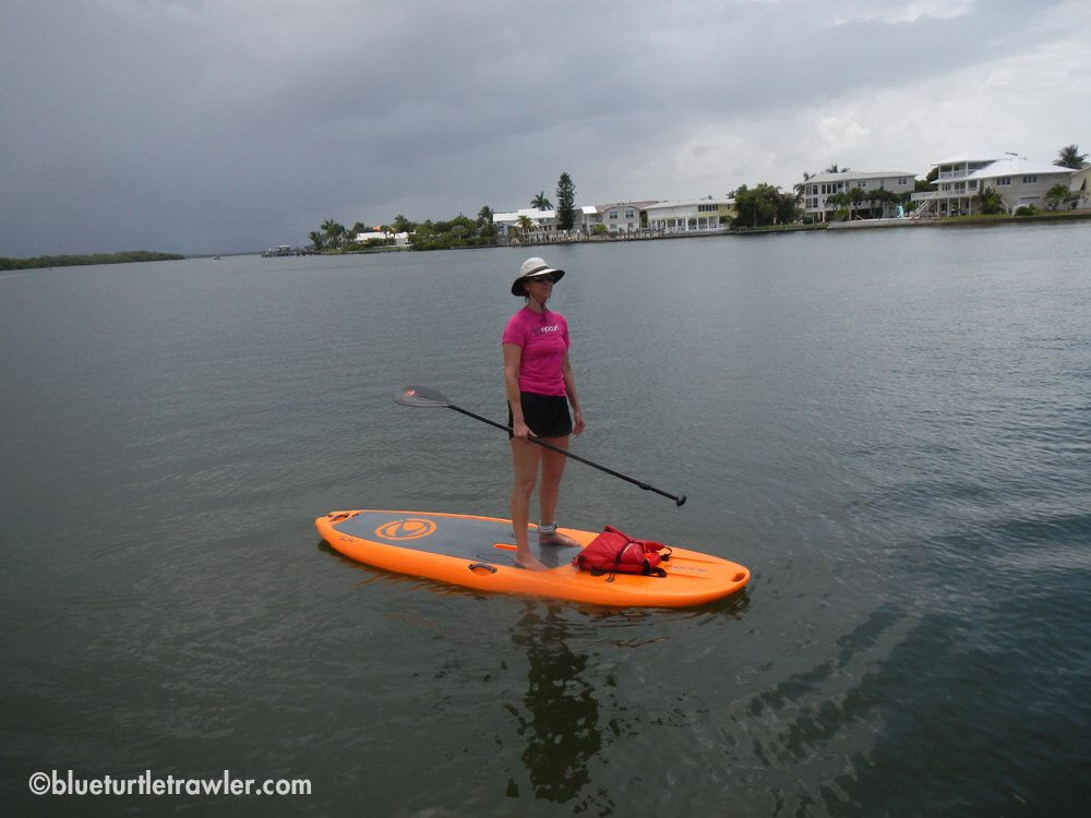 Joan returning to Snook Bight with a storm brewing in the background