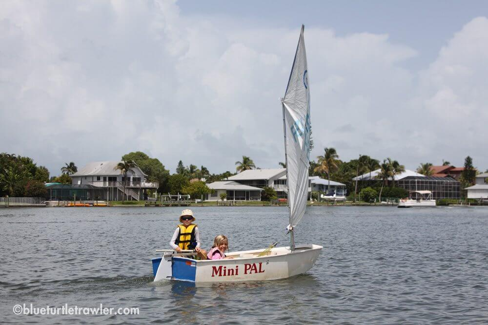 Corey and his friend Tanner sailing the Mini Pal