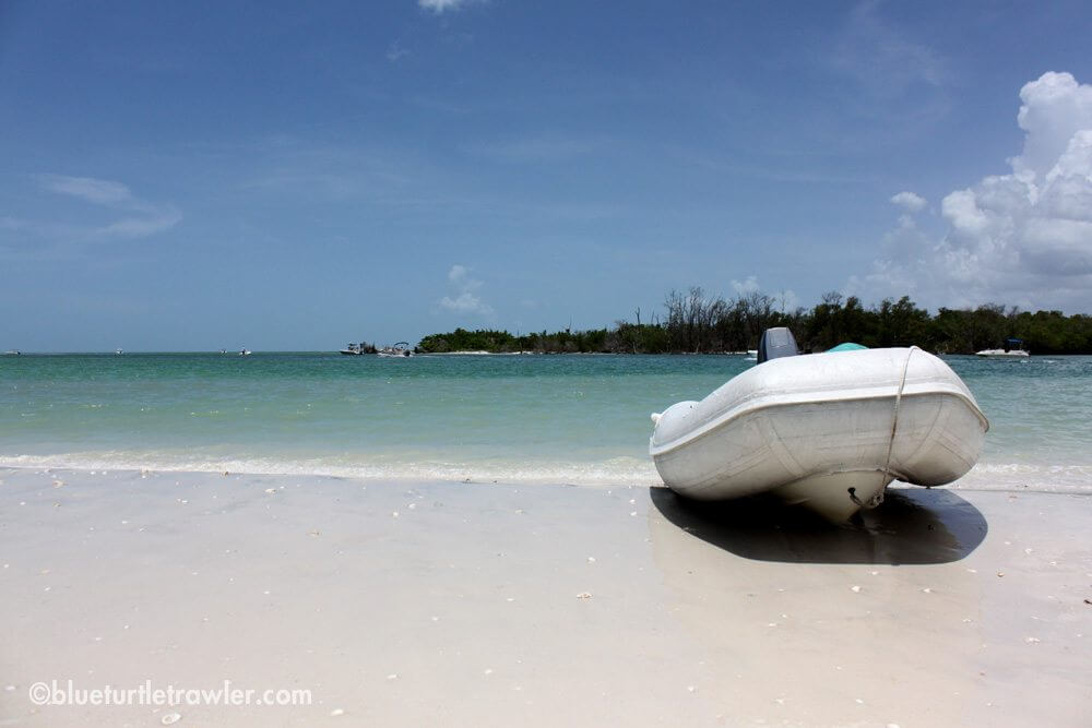 Our dinghy on the beach looking out onto the Gulf of Mexico