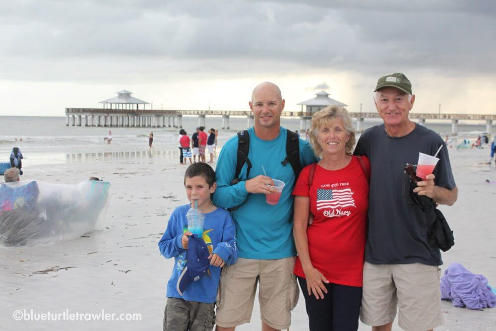 Corey, Randy, April and Johnny in front of the pier