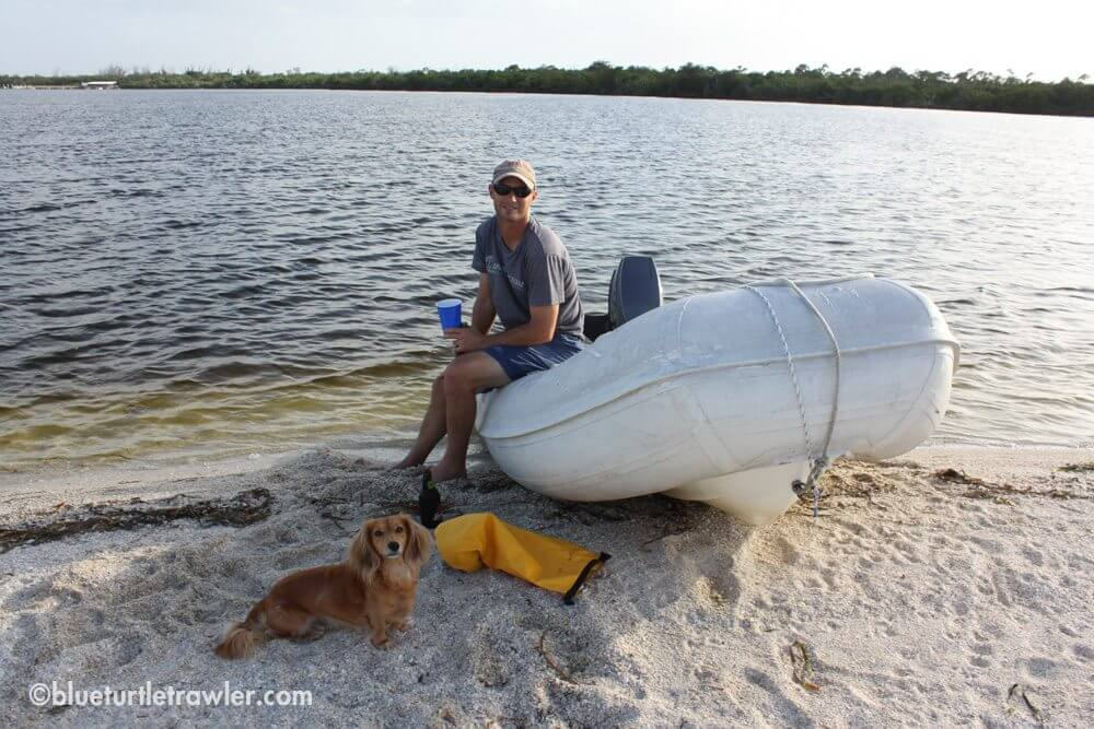 Once at Cayo Costa, Randy and I (and Sophie) take the dinghy to the beach