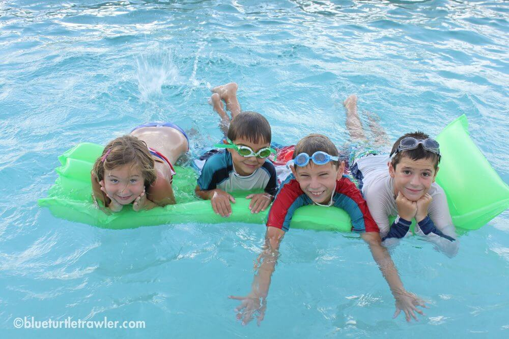The kids having a blast at the pool party