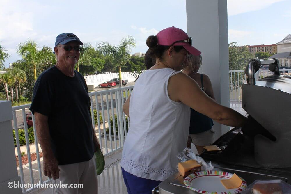 """Dave """"supervising"""" the grilling action"""