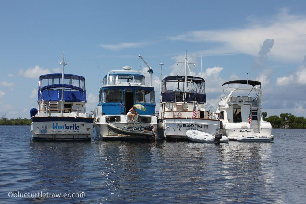 Our flotilla for Labor Day weekend (Blue Turtle, Royal Tease, Island Time and Mystique)