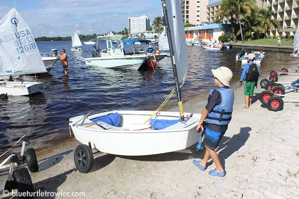 Corey puts his boat in the water and gets it ready