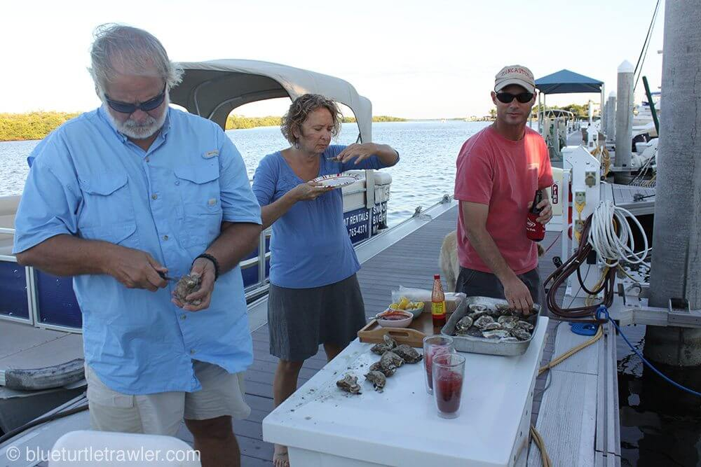 Tom was the official oyster shucker