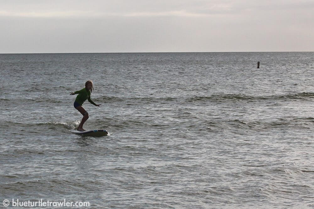 Maddie catches a wave!