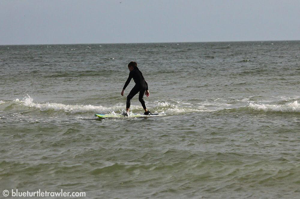 Corey catches a wave!