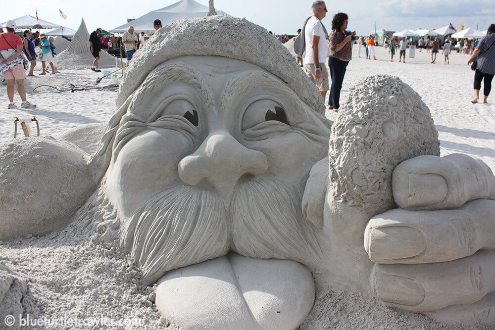 One of the Christmas themed sand sculptures