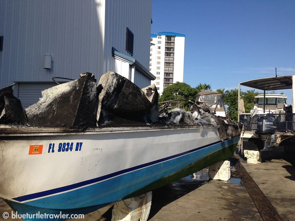 Boat Fire At Snook Bight Marina Blue Turtle Trawler