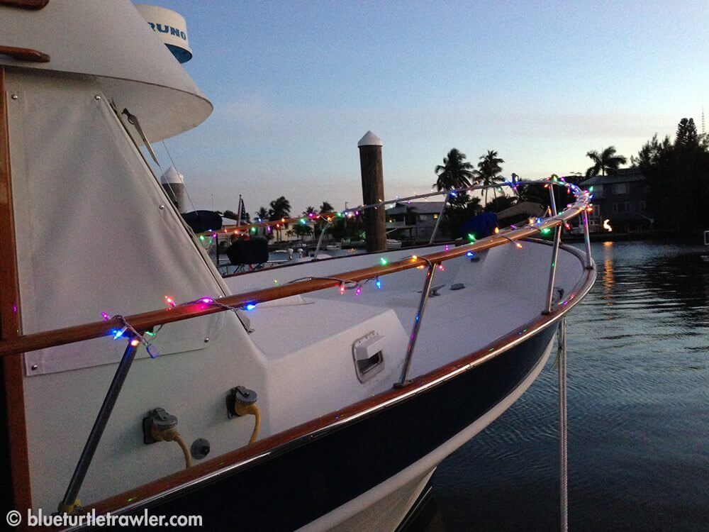 Colored LED lights on the bow of Blue Turtle
