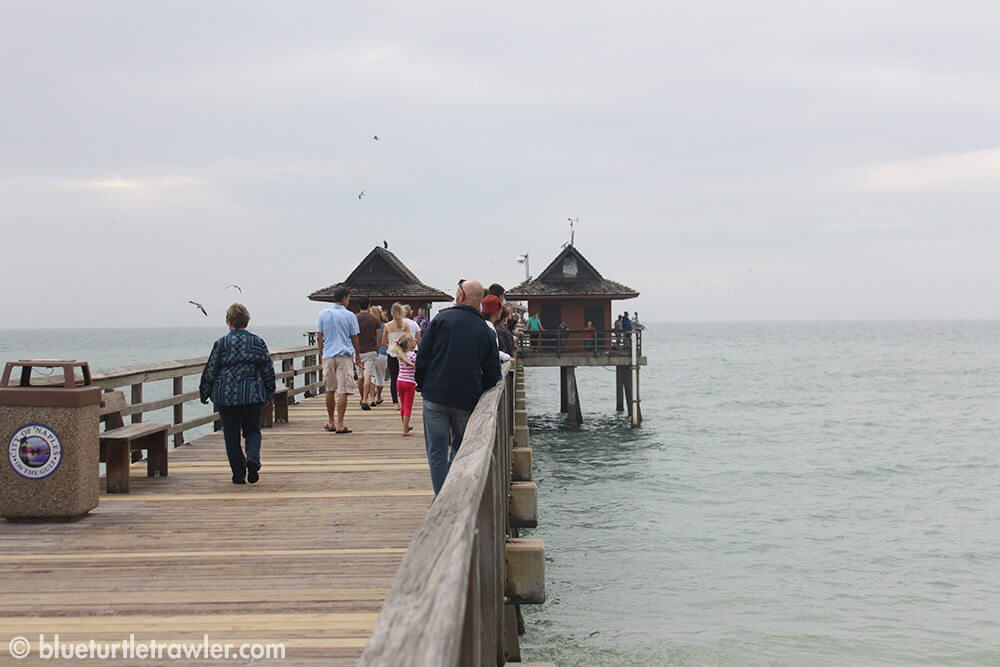 Checking out the wave action at the Naples Pier