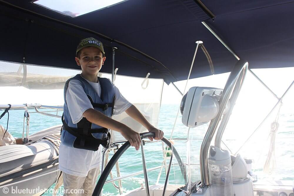 Captain Corey at the helm