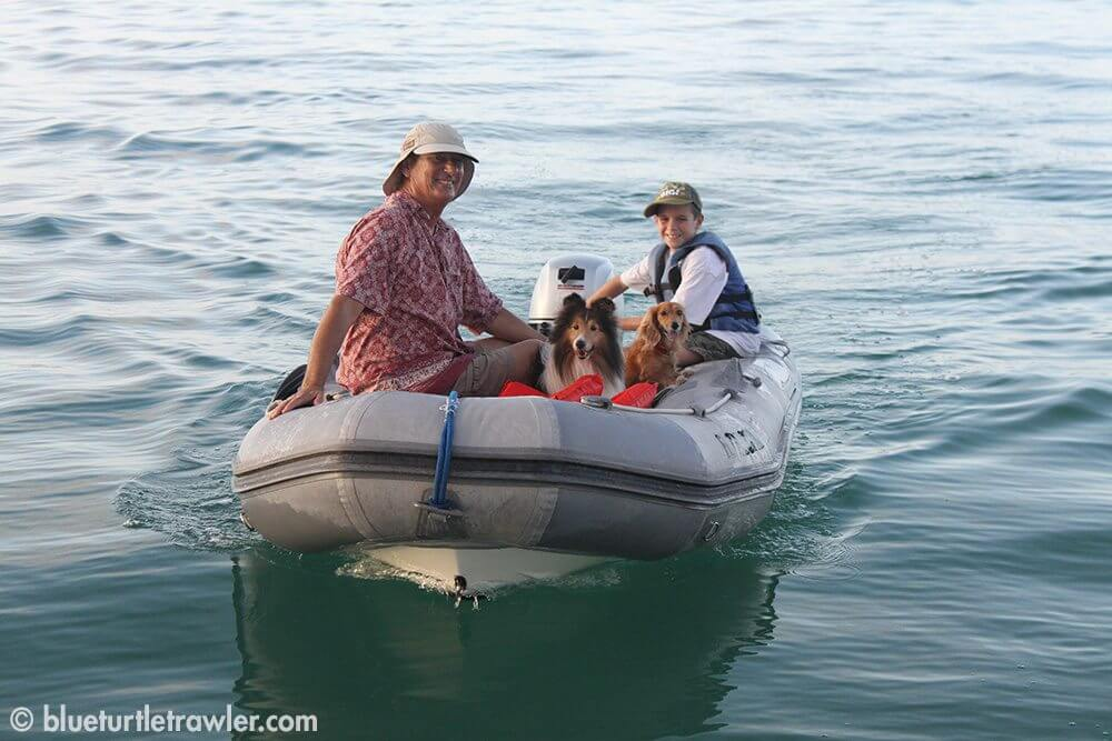 Tim and Corey take Schooner and Sophie to shore