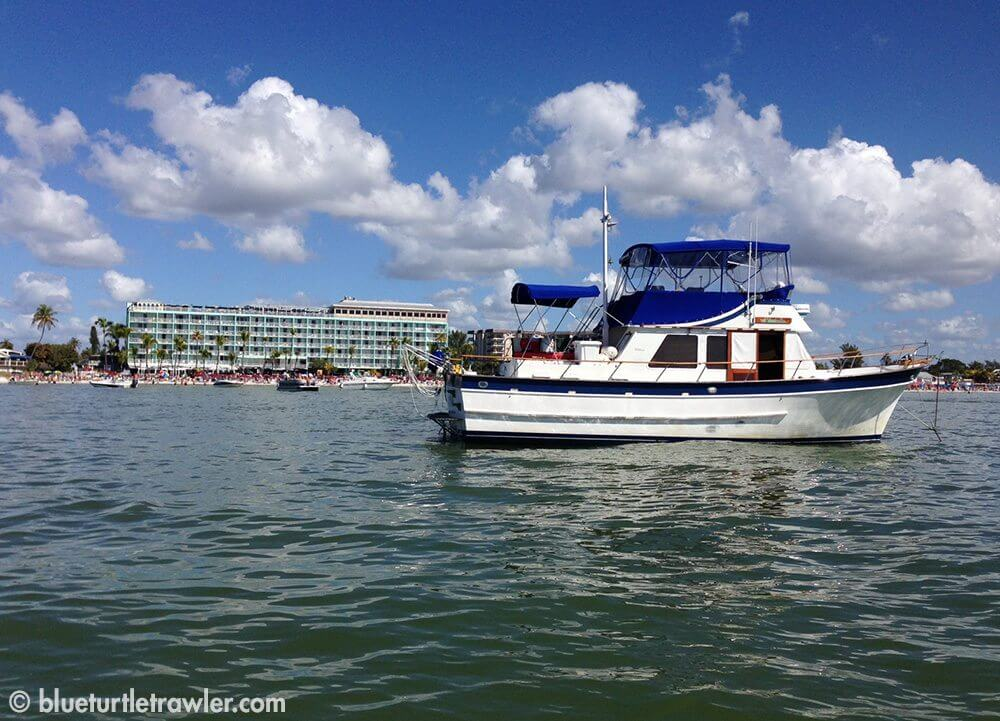 Blue Turtle anchored in front of the Lani Kai