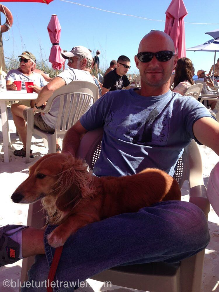Randy and Sophie enjoying the sunny afternoon at The Beach Pub