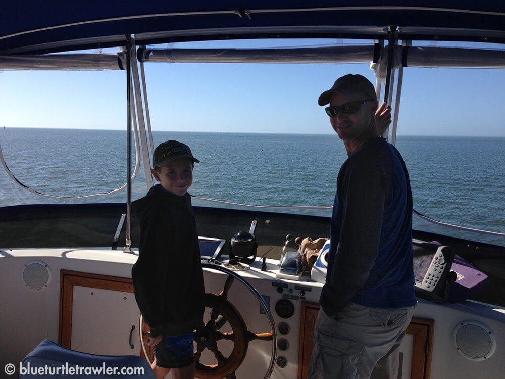 Corey (at the helm) and Randy on our way to anchor at Ft. Myers Beach