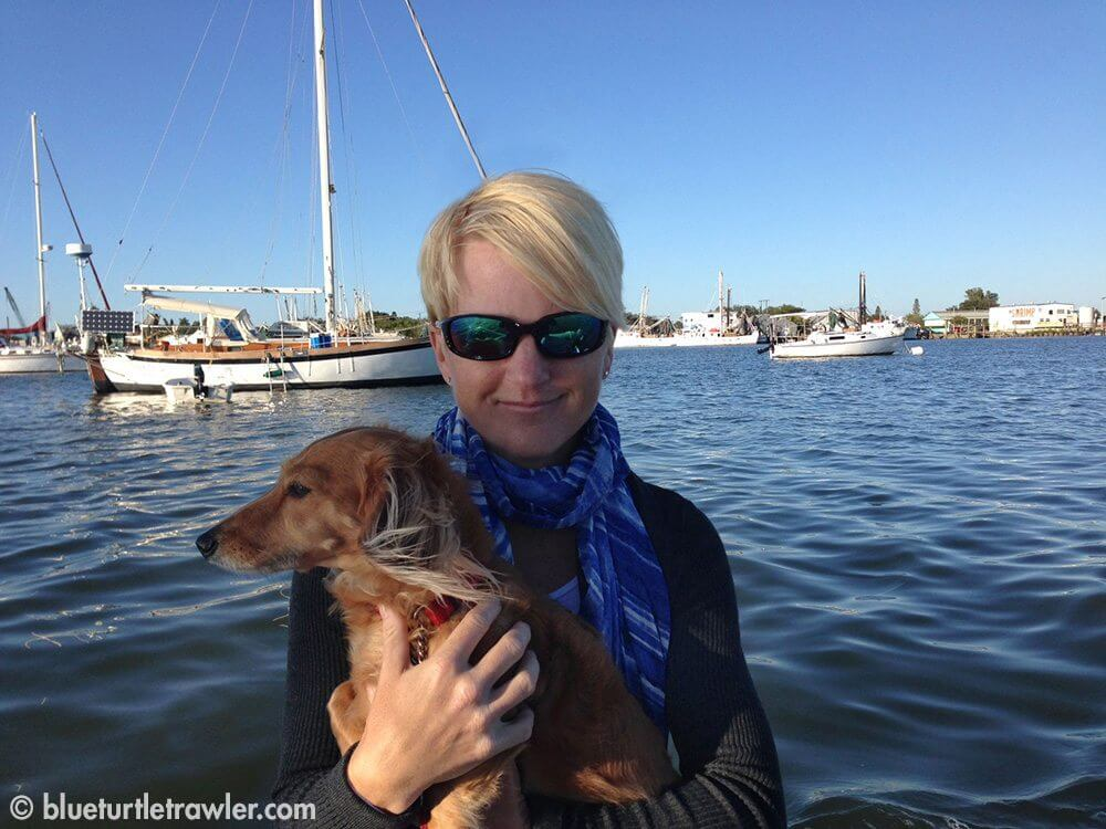 Sophie and I on a dinghy ride to shore