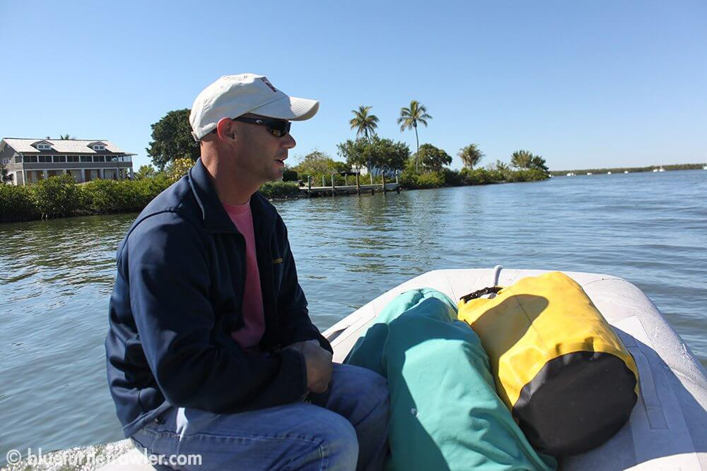 Captain Randy on the dinghy ride